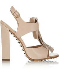 Tod's Fringed Leather Sandals - Lyst