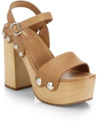 Prada Wooden-Heel Leather Platform Sandals - Lyst