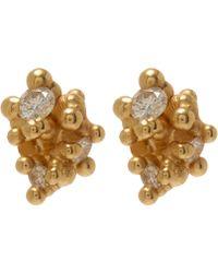 Ruth Tomlinson - Yellow Gold White Diamond Granule Stud Earrings - Lyst