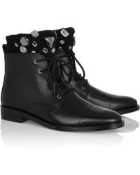 Markus Lupfer Embellished Ribbedknit and Leather Ankle Boots - Lyst