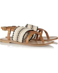 See By Chloé Kenna Leather And Woven Cotton Sandals - Lyst