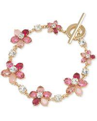 Carolee - Gold-tone Pink Floral Toggle Bracelet - Lyst