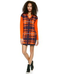 MSGM Cable Sleeve Plaid Dress Burgundy - Lyst
