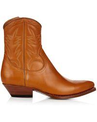 Saint Laurent Santiag Western Ankle Boots - Lyst