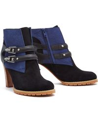 See By Chloé Navy Double Buckle Contrast Boots - Lyst