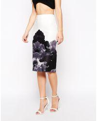Asos Floral Border Print Pencil Skirt - Lyst