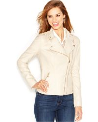 Guess Dual-Zip Faux-Leather Moto Jacket - Lyst