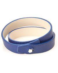 Valextra Wraparound Leather Bracelet - Blue
