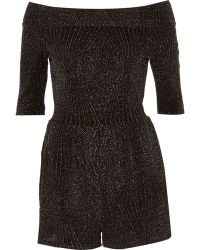 River Island Black Metallic Bardot Playsuit - Lyst