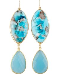 Devon Leigh - Turquoise Double-drop Earrings - Lyst