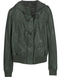 Forzieri Green Hooded Leather Jacket - Lyst
