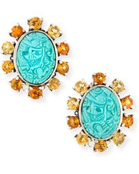Stephen Dweck Carved Turquoise Clip-On Earrings - Lyst