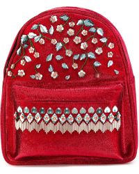 Manish Arora Small Flower Embellished Backpack - Red