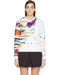 Kenzo White Striped Flowers Sweatshirt - Lyst