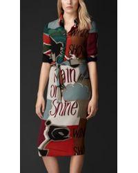 Burberry Book Cover Print Silk Shirt Dress - Lyst