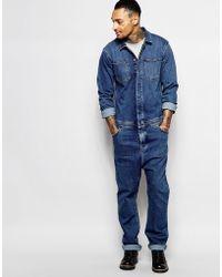 ASOS Boiler Suit In Denim Mid Blue