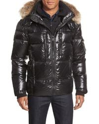 Sam. - 'mountain' Quilted Down Coat With Removable Hood And Genuine Coyote Fur Trim - Lyst