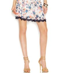 Jessica Simpson Lace-Trim Floral-Print Skirt - Lyst
