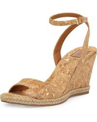 Tory Burch - Marion Quilted Cork Wedge Sandals - Lyst