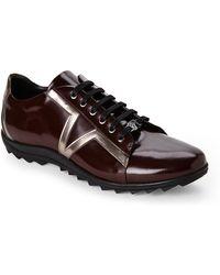 Versace Bordeaux Lace-Up Sneakers - Lyst