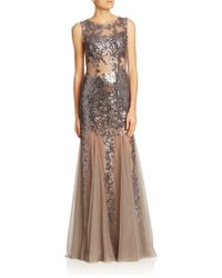 Jovani Sequined Appliqué Sheer Gown silver - Lyst