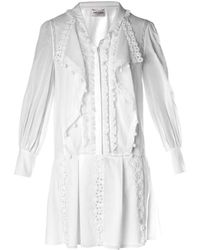 Saint Laurent Lace and Ruffle Dress - Lyst