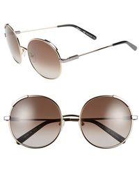 Chloé 'nerine' 56mm Round Sunglasses - Light Gold/ Khaki - Metallic