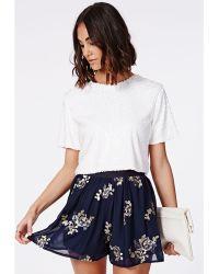 Missguided Kandice Floaty Chiffon Embellished Shorts - Lyst