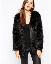 AX Paris Faux Fur Jacket - Black