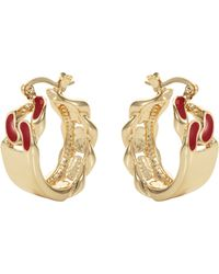 House of Holland - Red Id Plate Earrings - Lyst