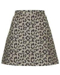 Topshop Lurex Leopard A-line Skirt - Lyst
