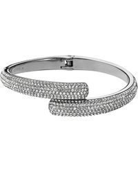 Michael Kors Pavéembellished Silvertone Hinge Bracelet - Lyst