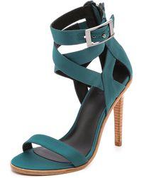 Tibi Vanya Cross Strap Sandals  Sarcelle - Lyst