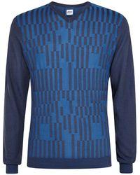 Armani Two-Tone V-Neck Sweater - Lyst