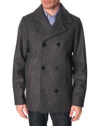 Menlook Label Lee Coal Grey Pea Coat - Lyst