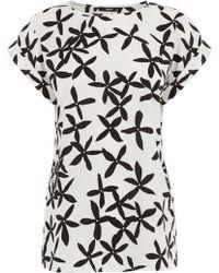 Oasis Floral Roll Sleeve Tee - Lyst