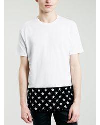 Topman White Star Hem Print T-shirt - Lyst