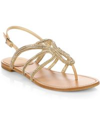 Stuart Weitzman Crystal-Embellished Strappy Sandals - Lyst