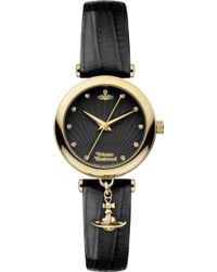 Vivienne Westwood Vv108bkbk Stainless Steel and Leather Watch - Lyst