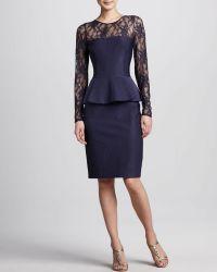 David Meister Illusionneck Peplum Cocktail Dress - Lyst