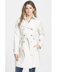 Via Spiga Tape Trim Double Breasted Trench Coat - Lyst