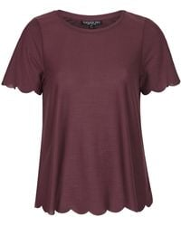 Topshop Tall Scallop Frill Tee - Lyst