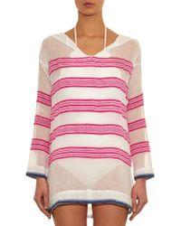 lemlem Tinish Hooded Stripe Cover-Up - Pink