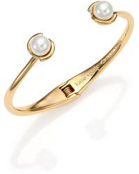 Kate Spade Dainty Sparklers Faux Pearl Cuff Bracelet gold - Lyst