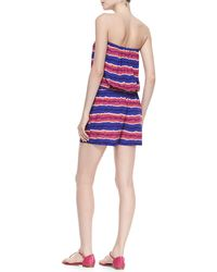 Tommy Bahama - Striped Strapless Bandeau Drawstring Jumpsuit Coverup - Lyst