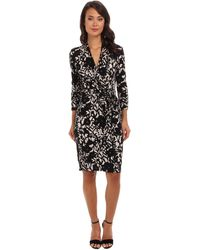 Adrianna Papell Floral Printed Faux Wrap Dress - Lyst