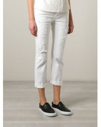 Dondup Distressed Skinny Trousers - Lyst
