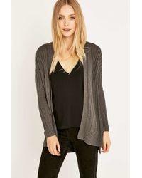 Ecote - Wide Ribbed Open Cardigan - Lyst