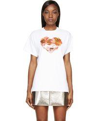 MSGM White Heart Graphic T_shirt - Lyst
