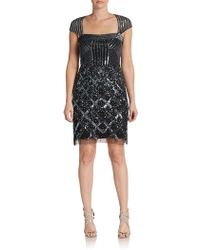 Adrianna Papell Sequined  Beaded Sheath Dress - Lyst